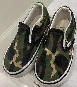 VANS KIDS SLIP ON SHOE! camouflage toddler sz 8