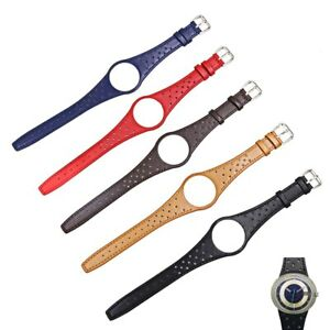 Black Real Calf Leather Watch Band with silver steel Buckle For Man OME Dynamic
