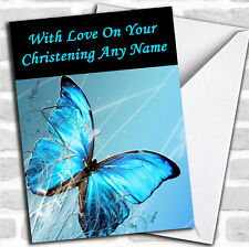 Blue Butterfly Personalised Christening Card