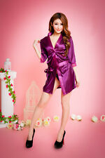 Sexy Ladies Womens Silk Robe Satin Robe  Nightwear  Sleepwear Bathrobe+Belt US
