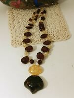 Vintage Natural Baltic Amber Pendant Nugget Round Bead Necklace78 Grams 28""