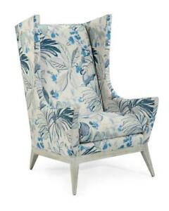 "31"" W Wing Back Chair Floral Pattern Fabric Weathered Hardwood Legs Hand Crafted"