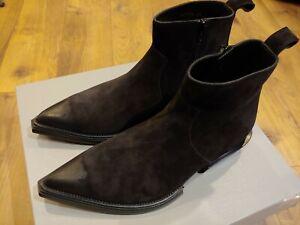"$1090 Mens Authentic Balenciaga ""Santiag"" Calfskin Suede Boots Black 42 US 9"