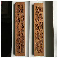 Vintage Wooden Board Carved Cookie Mold Press 21 People Animals Double Sided