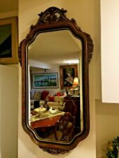 Antique Art Deco Sculptured flower design, Gesso/ wood Frame Wall Hanging Mirror