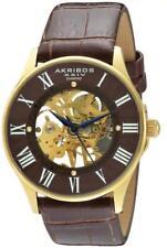 Akribos Xxiv AK499YG Esqueleto Mecánico Diamante Marcadores Brown Oro Reloj de