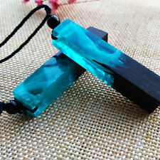 European Fashion Unisex Sea Resin Wood Blue Pendant Sweater Necklace Jewelry