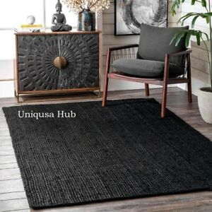 Rug Natural Jute Braided Black Reversible Rug Hemp Carpet Modern Living Area Rug