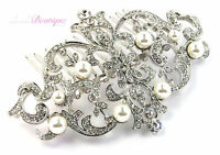Bridal Wedding Vintage Antique Style Silver Crystal & Pearl Hair Comb Slide HC05
