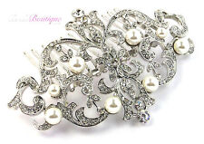 Bridal Wedding Vintage Antique Style Silver Crystal & Pearl Hair Comb Slide HC05