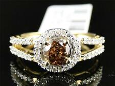 10K Ladies Yellow Gold Brown Cognac Diamond Solitaire Engagement Wedding Ring