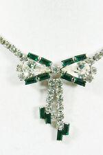 Clear Crystal & Emeral green Rhinestones silver tone Ribbon Bow Necklace