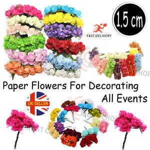 144Pcs Artificial Flowers Mini Paper Fake Roses with stem Wedding Bouque Deco UK