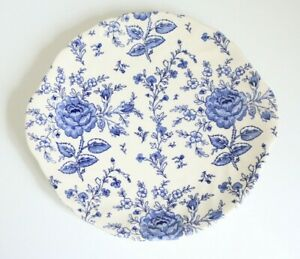 JOHNSON BROTHERS Blue and White Floral Sandwich / Cake / Serving Plate / Platter