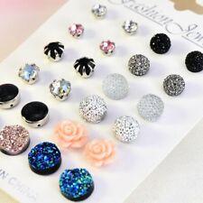 12 Pairs/Set Crystal Flower Ball Round Earrings Women Ear Stud Women Jewelry