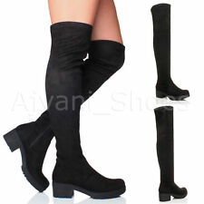 Women's Textile Over Knee Block Boots