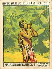 CHASSEUR Sarbacane Blowgun HUNTER Malaisie  British Malaya Malaysia CHROMO 30s