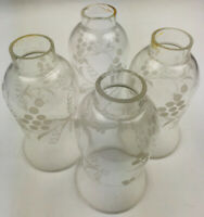 """Vintage Hand Blown Etched Grapevine Glass Light, Chandelier Shades 1 5/8"""" Fitter"""