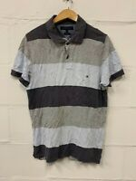 TOMMY HILFIGER MENS CASUAL SHORT SLEEVE POLO SHIRT STRIPED SLIM FIT SIZE LARGE L