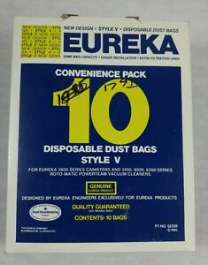 Eureka Convenience Pack 10 Disposable Dust Bags Style V #023169000148 NOS
