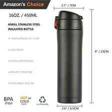 HIWILL Double Walled Coffee Mug Vacuum Insulated Stainless Steel Bottle 450ML