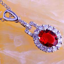 Gorgeous Oval Cut Ruby & White Topaz Gemstone Silver Pendant Necklace Jewelry