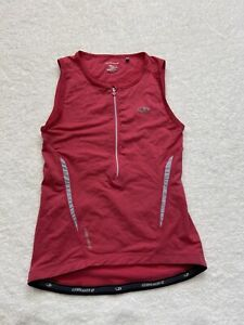 ICEBREAKER Pink Cycling Sleeveless Jersey 1/2 Zip Women's Medium Merino Wool
