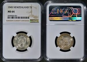 NEW ZEALAND 1 SHILLING 1944 SILVER (NGC MS64) *PREMIUM QUALITY*