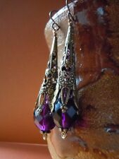 Earrings purple filigree drop Victorian