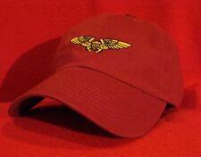 NAVAL / MARINE FLIGHT OFFICER AVIATOR Wings Ball Cap, Dark RED low-profile hat
