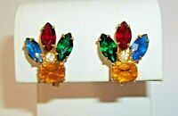 Vintage Multi Color Rhinestone Earrings Screw Back Gold Tone Yellow Red Green
