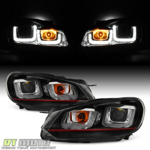 2010-2014 VW Golf/GTI Red Stripe Edition LED DRL Tube Projector Headlights 10-14