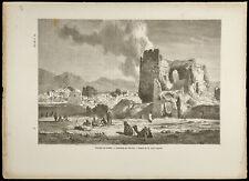 1860 - Iran - Faubourg de Téhéran et ruines - Gravure sur bois