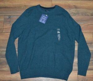 Croft & Barrow True Comfort Crew Sweater Ultrasoft Dark Chill Heather Green