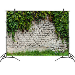 Spring Green Leaves and Grass Brick Wall 10x8FT Photo Background Vinyl Backdrop