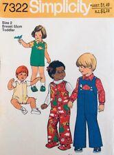 Vintage Simplicity Pattern 7322 | Toddler Jumpsuit, Playsuit & Shirt | Size 2