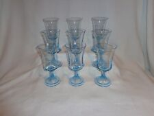 Vintage Glass Turquois Blue Water Goblet Wine Glasses (9)