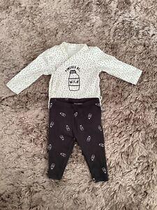 NEXT BABY BOYS 0-3 MONTHS MILK TOP LEGGINGS SET OUTFIT BUNDLE COMBINE POST