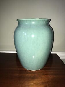 Large Vintage Pottery Vase Celadon Gloss Green