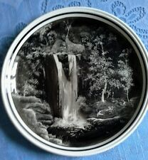 More details for waterfall scene - vintage craft revived. hand illustrated candle smoked plate.
