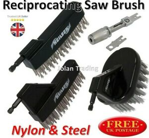 Reciprocating Saw Nylon Steel  Brush Attachment Clean Remove Rust Debris Paint