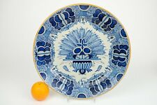 Very Large Antique 37,5 cm / 15 inch Dutch Delft Blue Faiance Wall Plate peacock