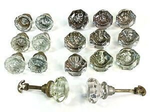 17 Antique Vintage Glass Crystal Door Knobs