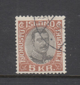 Iceland Sc O49 Christian X 5 Kr Official Very Fine Used