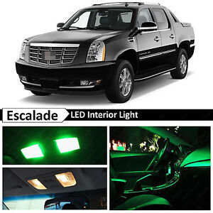 Fits 2007-2014 Cadillac Escalade EXT Green Interior LED Lights Package Kit
