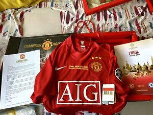 Manchester United Home Shirt 2007/08 Box Set Commemorative Final UCL 2008  L