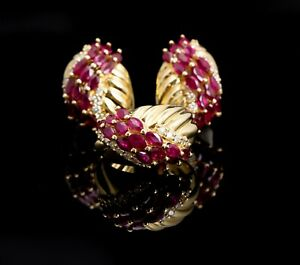 14K Yellow Gold Natural Ruby and Diamond Earring and Ring Set