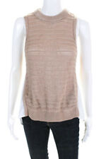 Veronica Beard Womens Mock Neck Knit Tank With Undershirt Brown White Size M
