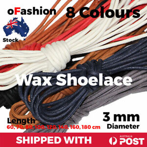 Wax Shoelace Round Waxed Laces 3mm For Dress Shoe Boot Sneakers Coloured Unisex