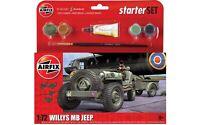Airfix Willys MB Jeep WW2 Allied Truck Model Kit Small Starter Set 1:72 Humbrol